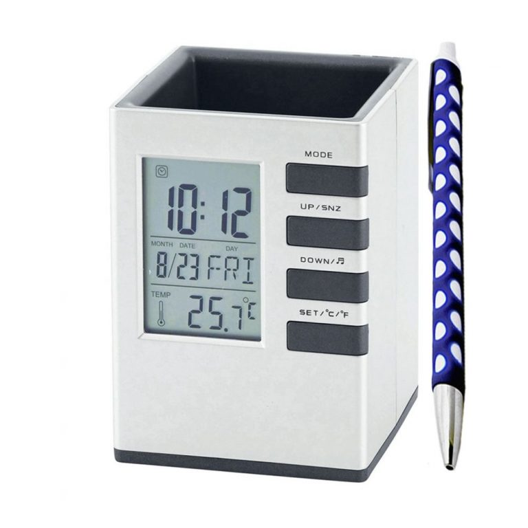 Amazon India : Tuelip Plastic Touch Sensitivity Desk Clock with Pen Holder Stand (12 cm x 8 cm x 8 cm)