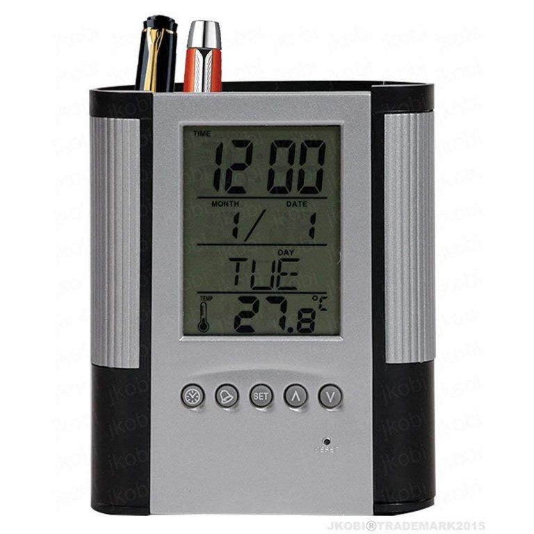 Amazon India : Tuelip Plastic Pen Pencil Holder with Clock Temperature Alarm (10 cm x 8 cm x 8 cm, Silver)