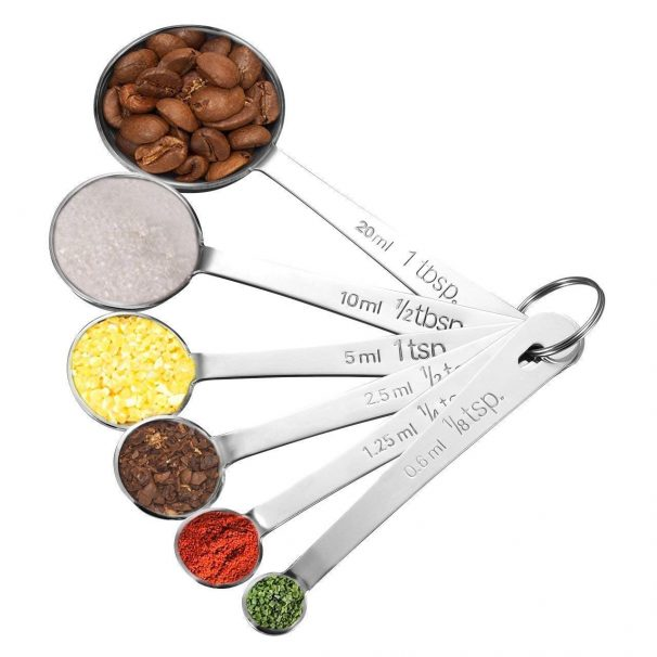 Amazon India : Lifetime Homitt Multifunction Stainless Steel Cup Spoon Set with Precise Measurements for Cooking and Baking, 6 Pieces