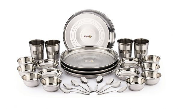 Amazon India : Pigeon Stainless Steel Dinnerware Set, 28-Pieces, Silver
