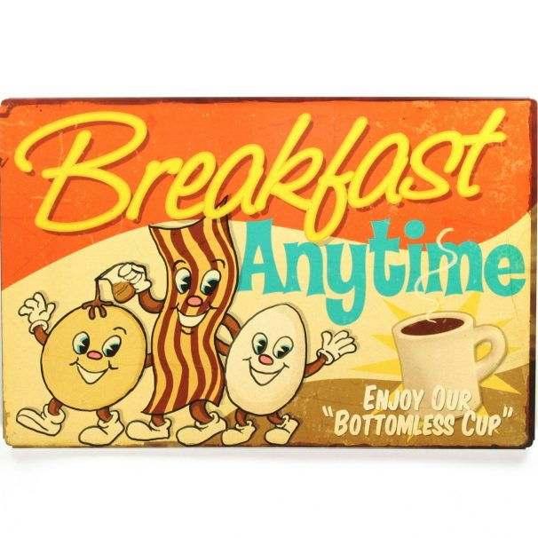 Amazon India : Sehaz Artworks 'Breakfast Anytime' Wall Sign (Wooden, 30 cm x 20 cm x 0.3 cm)