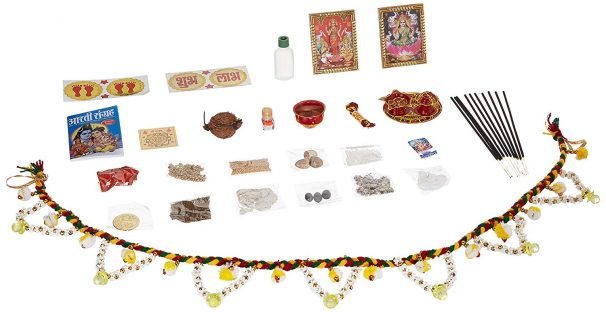 Amazon India : eCraftIndia All in One Set of 24 Pooja Items for All Year Festive Season (Diwali Laxmi Pooja, Ganesha Pooja, Karwa Chauth, etc)