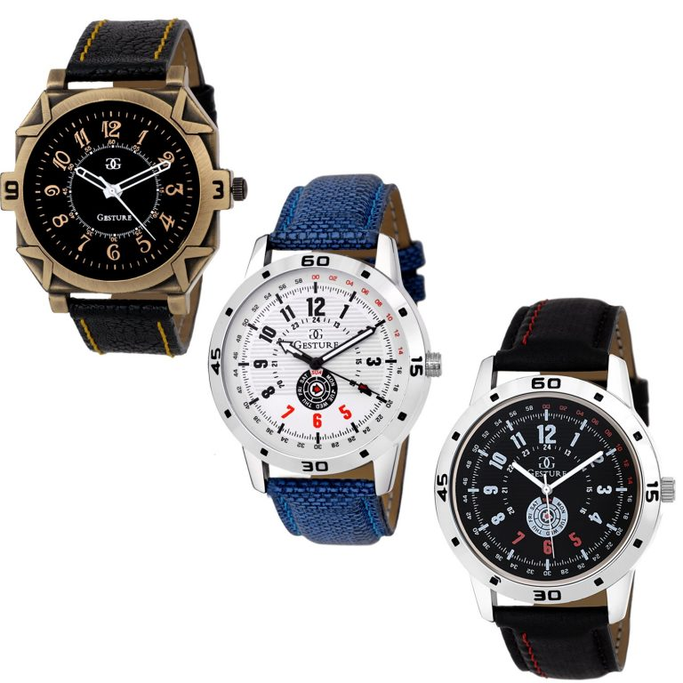 Amazon India : Gesture Analogue Multicolor Dial Men's Combo Of 3 Watch