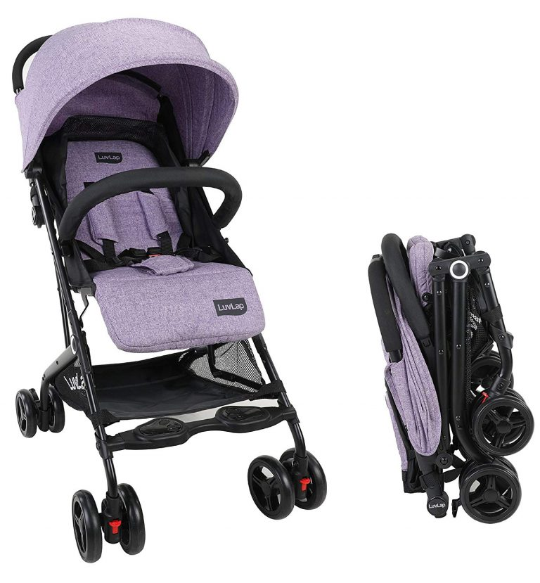 Amazon India : Luvlap Cruze Stroller Pram with Compact Tri-fold, Purple