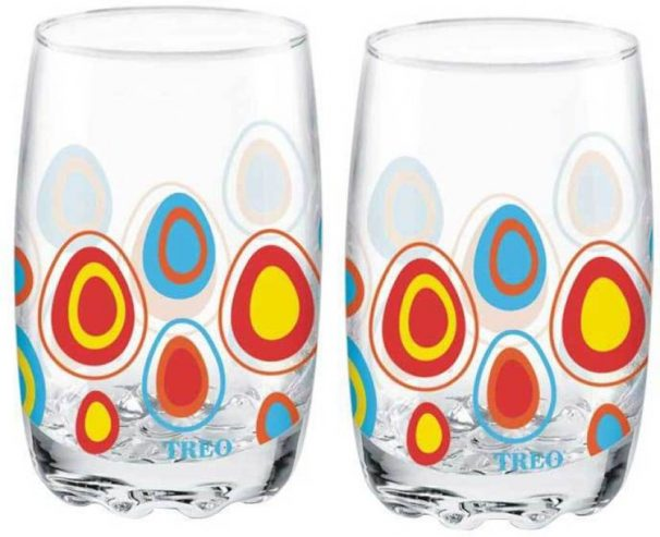 Flipkart : Treo D Ziner Lyon Glass Set  (Glass, 265 ml, Clear, Pack of 2)