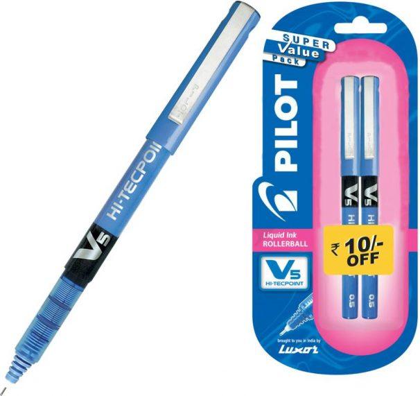 Amazon India : Pilot V5 Pen (Pack of 2 )Blue Roller Ball Pen  (Pack of 2)