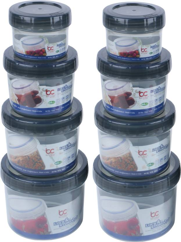Flipkart : Bel Casa Lock & Store Spin - 150 ml, 300 ml, 500 ml, 730 ml Polypropylene Grocery Container  (Pack of 8, Grey)