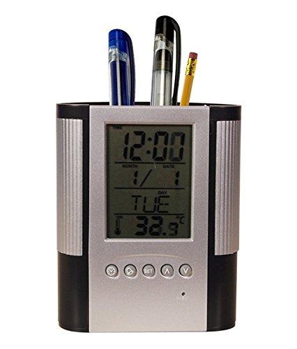 Amazon India : Tuelip Plastic Pen Holder with Digital Clock, White