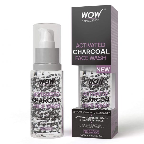 Amazon India : WOW Activated Charcoal infused with Activated Charcoal Beads No Parabens & Sulphate Face Wash, 100mL