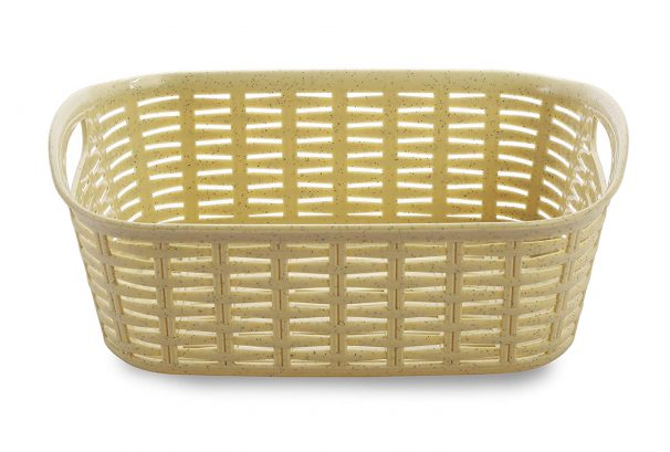 Amazon India : All Time Plastics Rattan Rectangular Plastic Shelf Basket - 24 cm x 17 cm x 9 cm, Beige