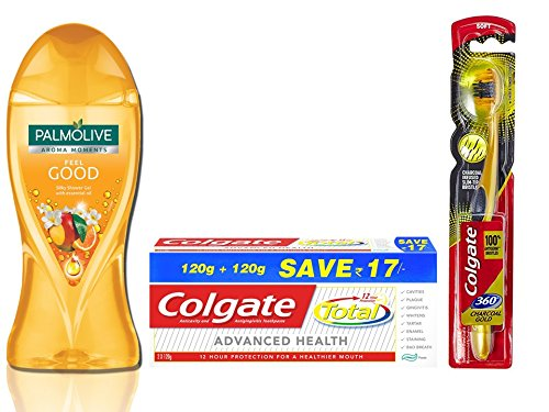 Amazon India : Colgate Palmolive Feel good Essential Oil Bodywash Combo with Total Advance Health Toothpaste - 240 g and Toothbrush