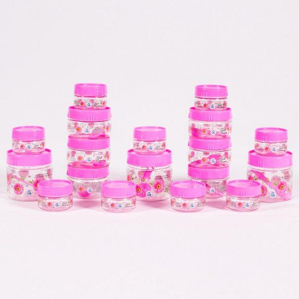 Amazon India : G-PET Plastic Jar Set, 18-Pieces, Pink