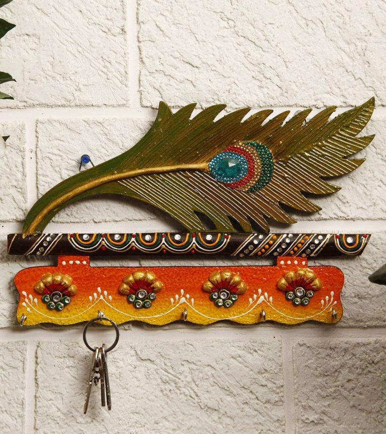 Amazon India : JaipurCrafts Beautiful Mor Pankhi Wooden Key Holder (4 Hooks, 9 in x 6 in)