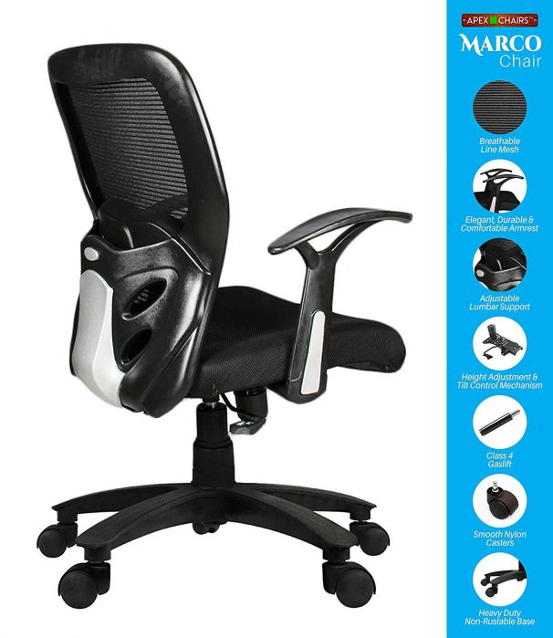 Amazon India : SAVYA HOME APEX Plastic Chairs MARCOZY Star Base Medium Back Office Chair, Standard, Black