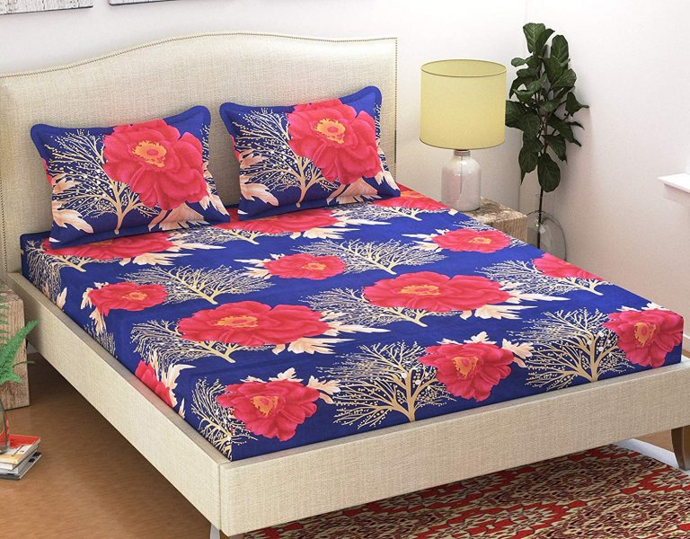 Amazon India : Homefab India 140 TC Polycotton Double Bedsheet with 2 Pillow Covers - Floral, Blue