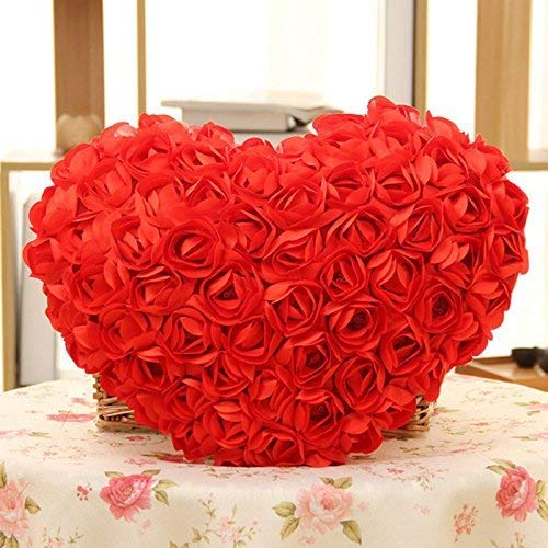 Amazon India : All New Cute Red Rose Pattern Red Heart Shape Pillow (Red) 1 PC