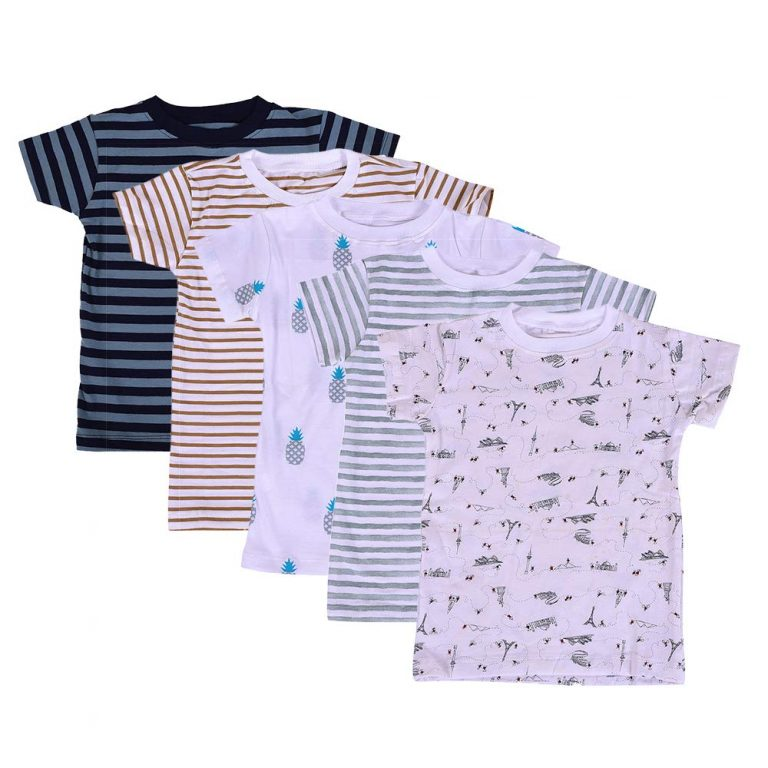 Amazon India :MOM'S HOME Baby's Organic Cotton T-shirt Set (6-12 Months)-Pack of 5