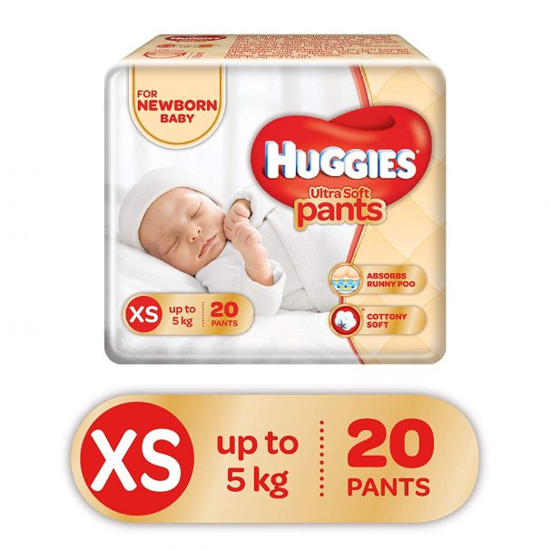 Amazon India : Huggies Ultra Soft Pants Diapers, XS (Pack of 20)