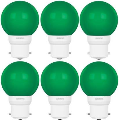 Flipkart : Luminous 0.5 W Round B22 D LED Bulb  (Green, Pack of 6)