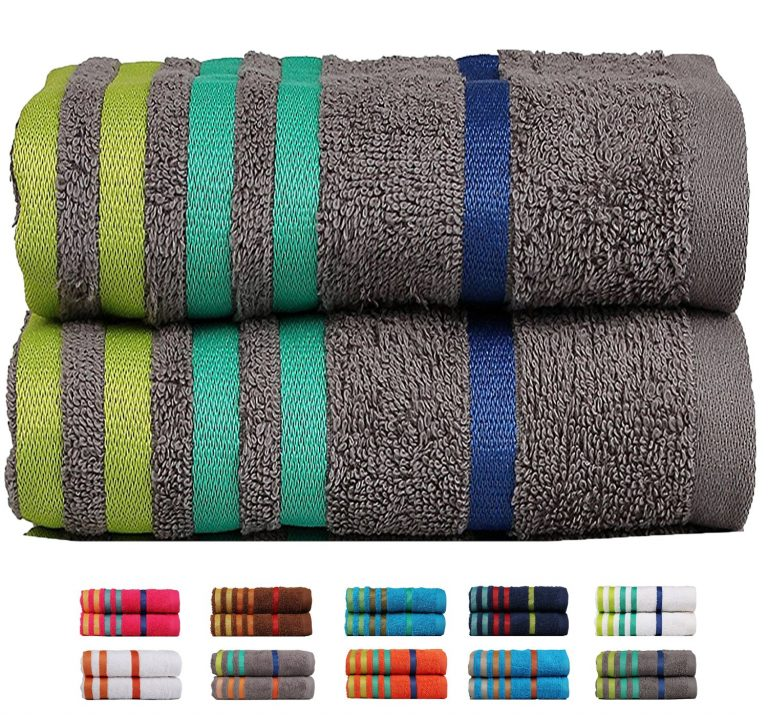 Amazon India : Casa Copenhagen Exotic 2 Piece 475 GSM Cotton Towel Set - Grey