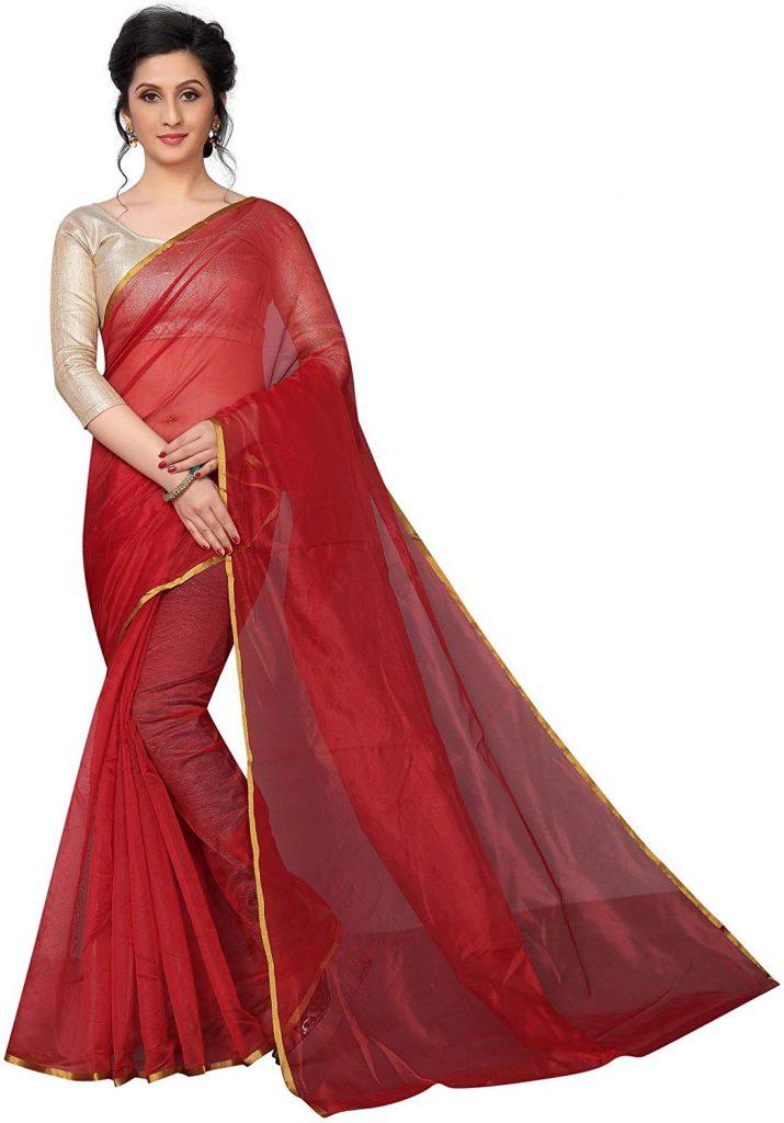 Amazon India : Perfectblue Women's Cotton Silk Saree With Blouse Piece