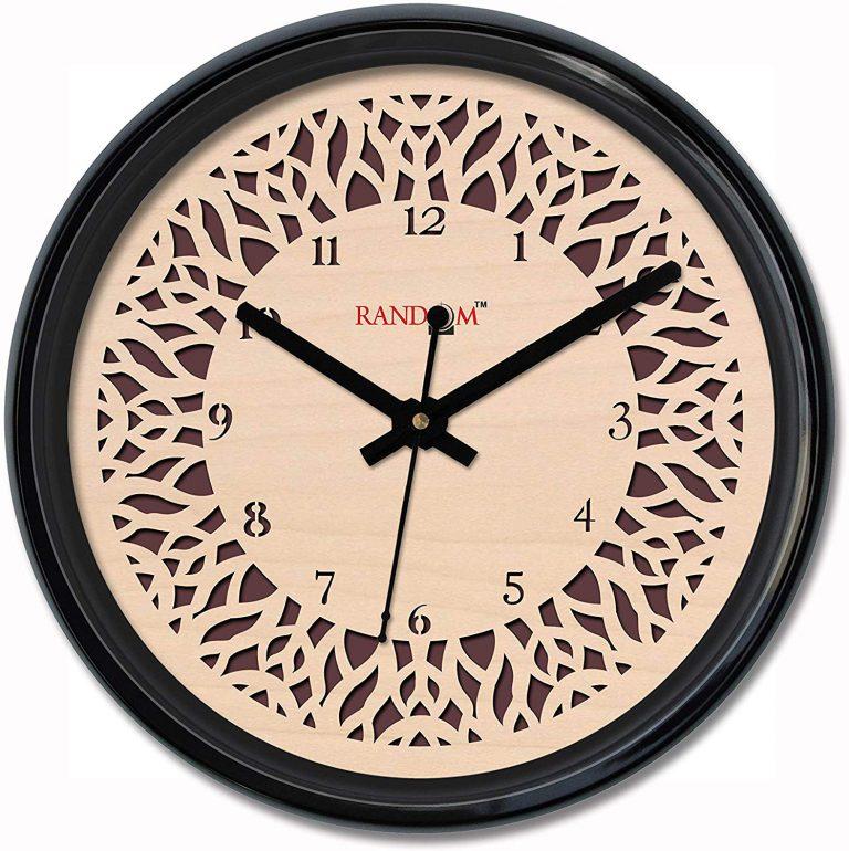 Amazon India : Random Delicate Carvy Round Plastic Wall Clock (33.02 cm x 33.02 cm x 5.08 cm, Black)