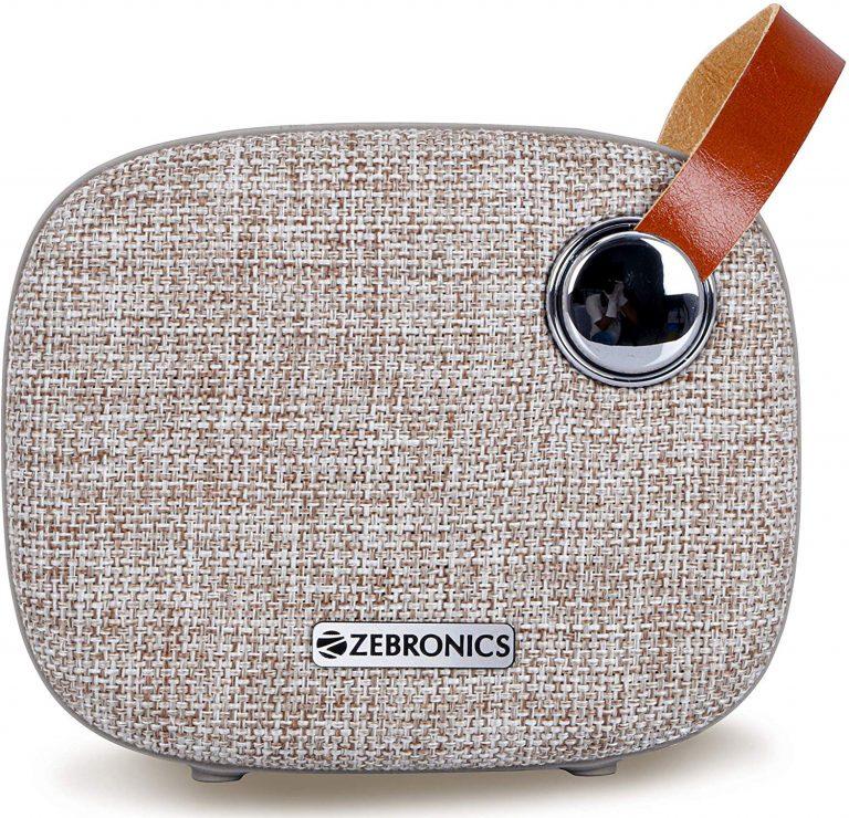 Amazon India : Zebronics Zeb-Knight Fabric Finish Portable BT Speaker with mSD, USB, FM, AUX, Mic & Fabric Finish (Brown)