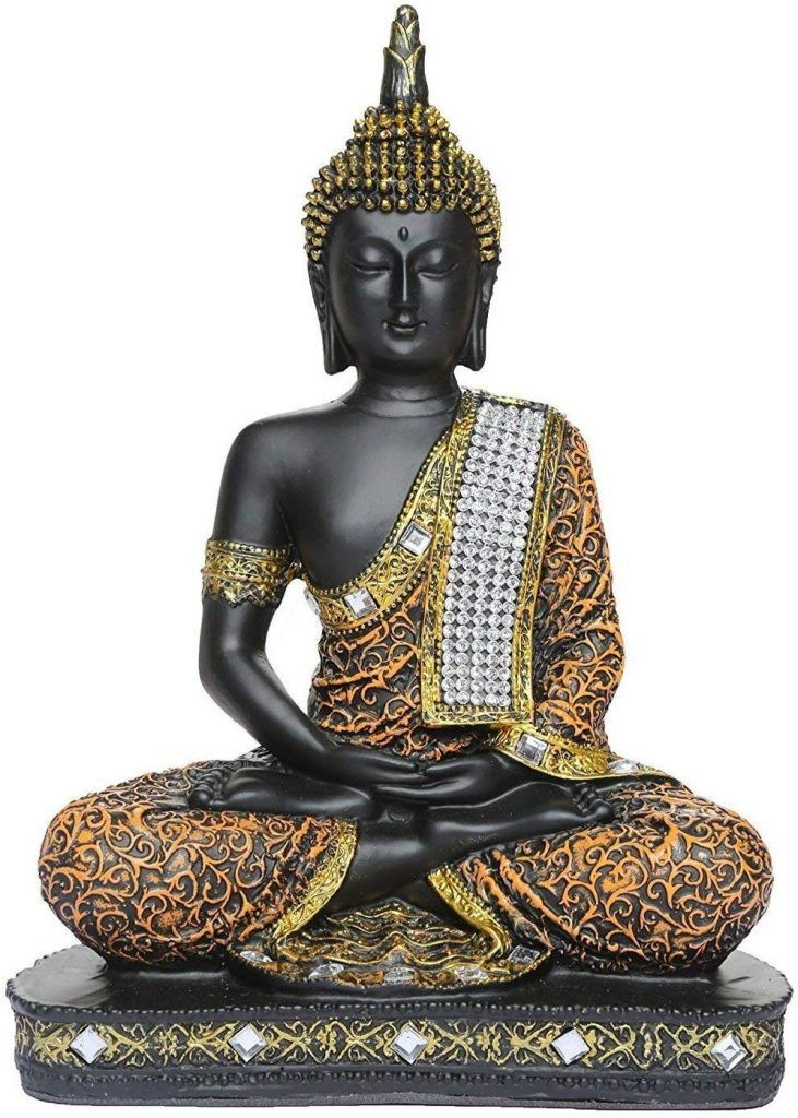 Amazon India : Global Grabbers Sitting Buddha Idol Statue Showpiece Orange and Black