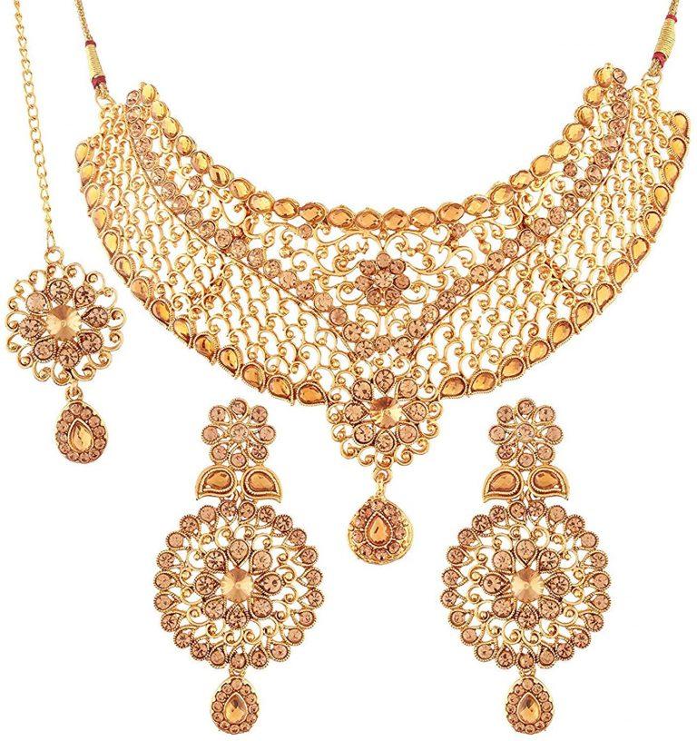Amazon India : I Jewels Traditional Choker Bridal Necklace Set Jewellery for Women