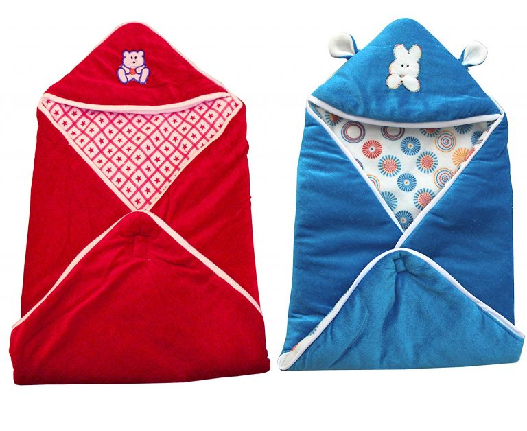 Amazon India : My Newborn Multipurpose Sleeping Bag with Wrap Blanket Combo, Sky/Red-Hoods (Pack of 2)