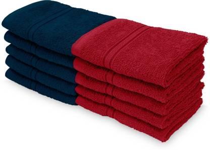 Flipkart : Swiss Republic Cotton 460 GSM Face Towel  (Pack of 10, Dark Blue, Red)