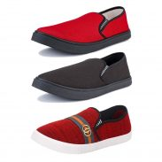 Amazon India : Bersache Men's Combo Pack of 3 Canvas Casual Shoes