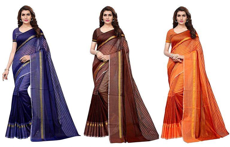 Amazon India : Anni Designer Cotton Saree with Blouse Piece (Pack of 3)