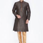 Myntra : Vastramay Men Black & Golden-Coloured Printed Kurta with Churidar Pant
