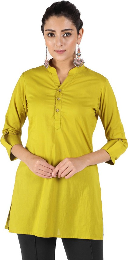 Flipkart: Women Solid Rayon Straight Kurta  (Yellow)