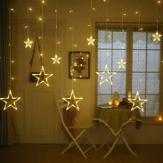 Amazon India : Quace 12 Stars 138 LED Curtain String Lights, Window Curtain Lights with 8 Flashing Modes Decoration