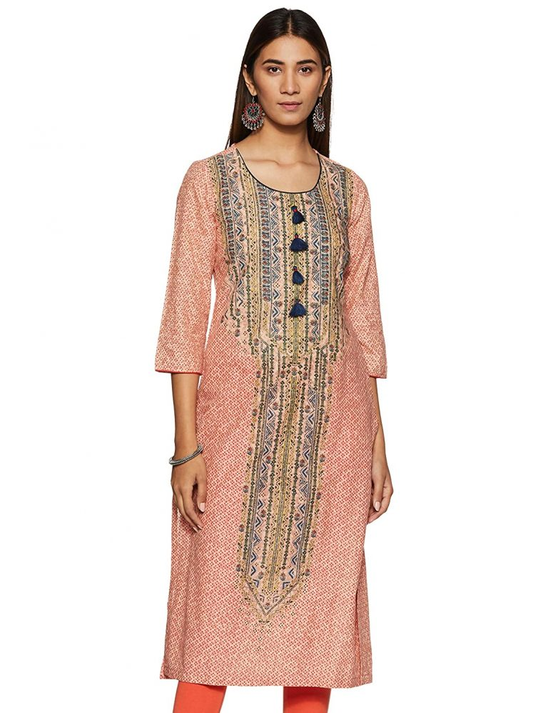 Amazon India : BIBA Women's Cotton Straight Kurta