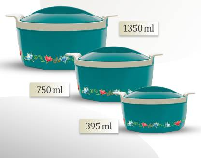 Flipkart : Milton Elegance Pack of 3 Thermoware Casserole Set (395 ml, 750 ml, 1350 ml)