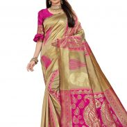 LimeRoad : Self Design Woven Saree With Blouse