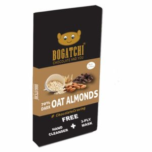 Amazon India : BOGATCHI Healthy Oats 70% Dark Chocolate Bar with Roasted Almonds, 80g at Rs.166