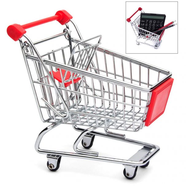 Go Hooked Mini Supermarket Shopping Cart Trolley Mini Cart Desktop Storage Decoration Phone Holder Baby Toy Trolley, Wonderful Gift and Toy for Children (Multicolor, Pack of 1)