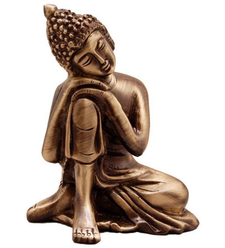 Amazon India : eCraftIndia Resting Buddha on Knee Metal Showpiece (7.5 cm x 5.38 cm x 9.38 cm, Brown) at Rs.269