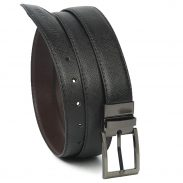 Amazon India : MUTAQINOTI Pu Leather Belt For Men With Reversible Buckle (Black Brown)