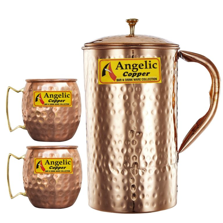 Amazon India : Angelic Copper Handmade Jug with Cups, Brown