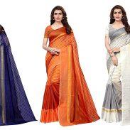 Amazon India : GoSriKi Polycotton saree with blouse piece