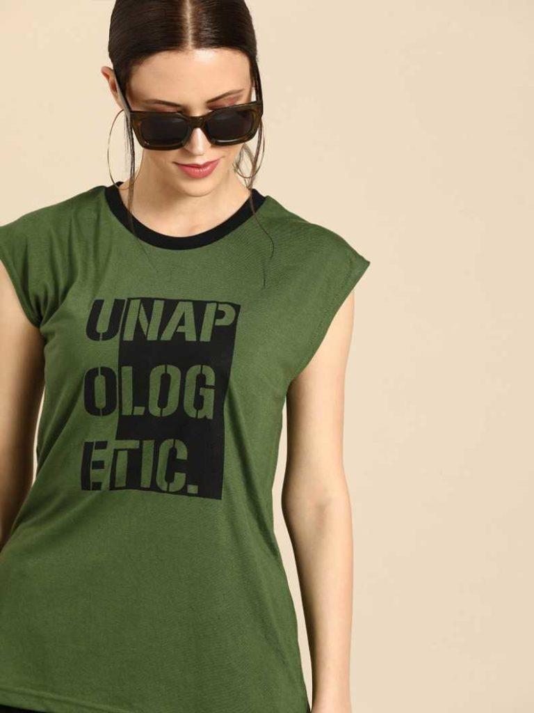 Flipkart : Dressberry Typography Women Round Neck Dark Green T-Shirt at Rs.199