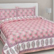 JAIPUR FABRIC Floral Print King Size Bedsheet with Pillow Covers at Rs.854