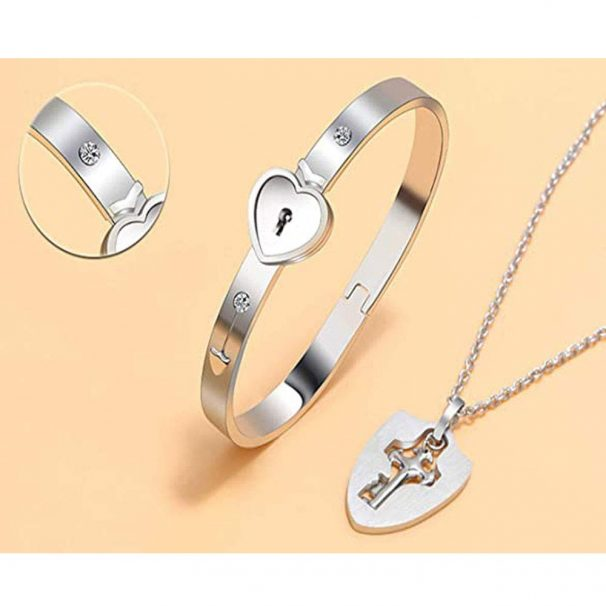 Impression Combo of Silver Stainless Steel Heart Lock Bracelet and Key Pendant Set for Men and Women at Rs.449
