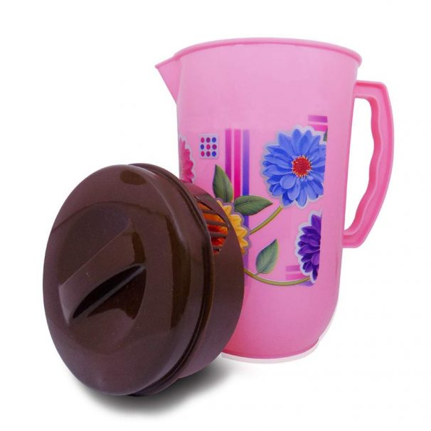 DeoDap Plastic Printed Water Jug with Lid (Pink Color) at Rs.149