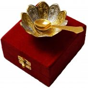 HHI Silver Gold Plated Floral Shape Decorative Spoon and Bowl Set for Diwali Gift Set at Rs.129